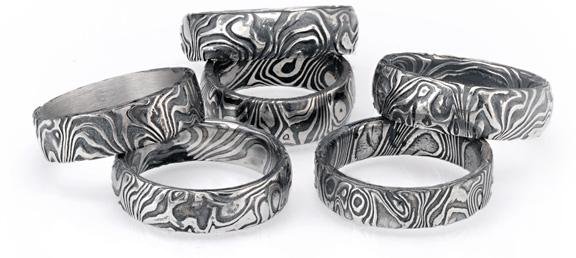 twist mokume men by gane rings silver and gold s ring