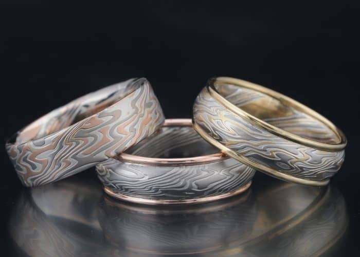 product ring copper rings full striped mokume moon silver gane